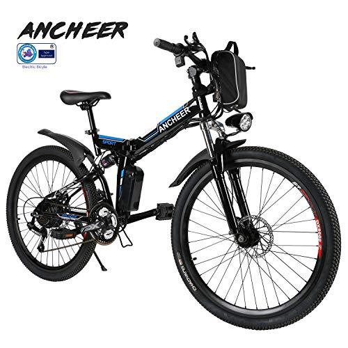 ANCHEER Elektrofahrrad Faltbares Mountainbike, 36V 8Ah Lithium-Batterie 26 Reifen Elektrisches Fahrrad Ebike mit 250W bürstenlosem Motor und Professionell 21-Gang