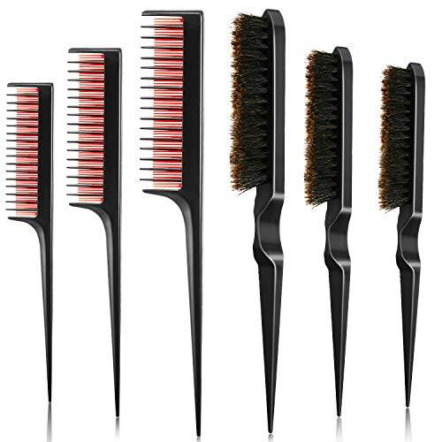 6 Pieces Boar Bristle Teasing Hair Brush and...