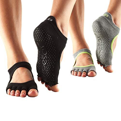 Toesox Bellarina Half Toe Multi Pack - Grip Non-Slip Toe Socks for Pilates, Barre, Yoga, Ballet, Medium, Heather Grey & Black - 2 Pack
