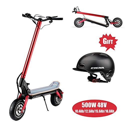 Super-ZS Elektrische scooter, opvouwbaar, met dubbele aandrijving, elektromotor, terreinwagen, voor volwassenen, 500 W, 48 V, zonder bezem (verstelbaar in 3 snelheden) vacuümbanden, 10 inch
