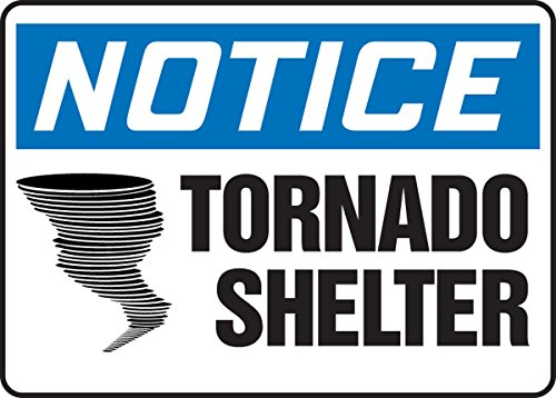 Accuform MADM823VS Adhesive Vinyl Safety Sign, Legend'Notice Tornado SHELTER', 10' Length x 14' Width x 0.004' Thickness, Blue/Black on White