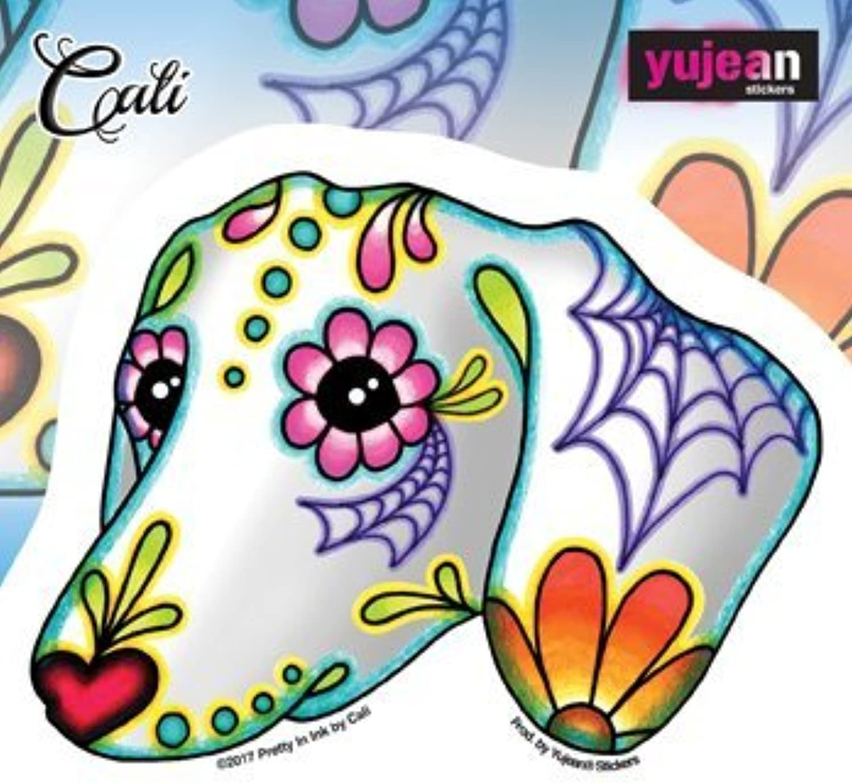 Yujean Cali's Dachshund 3.6 x 4.75 Die Cut Sticker