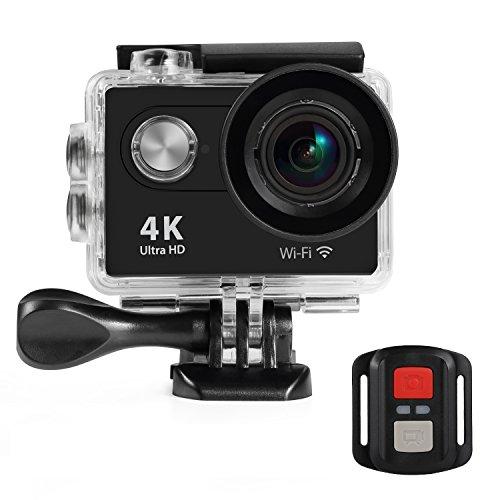 NexGadget Action Camera WiFi Full HD 1080P 140° Grandangolare Certificato IP68 Sport Camera Impermeabile Tuffarsi sotto 31 Metri con Vari Accessori Kit(Nero)