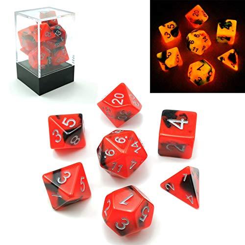 Bescon Polygonal Würfel Spielwürfel Gemini Two-Tone Leuchten D&D Dice Set HOT Rocks, Helle RPG - Rollenspiel Polyedrische Dice 7pcs Set d4 d6 d8 d10 d12 d20 d%, Brick Box Packaging