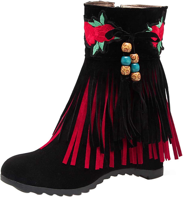 RizaBina Emboridary Tassel Boots Side Zipper Boots Ankle Boots High Heel Boots