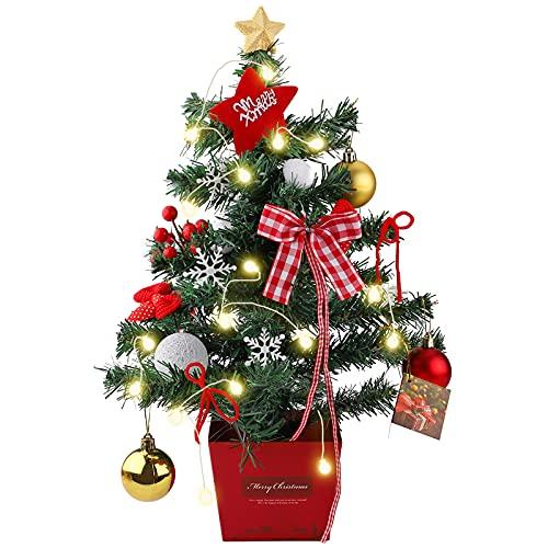 Hileyu Mini Albero di Natale Albero di Natale da Tavolo 50cm Albero di Natale con luci a LED Albero di Natale Artificiale con Base e Ornamenti per Decorazioni di Natale Festa di Natale