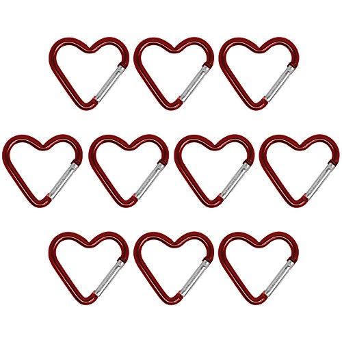 BB Sport 10er Set Materialkarabiner Karabiner Little Heart Schlüsselanhänger Karabinerhaken Zubehörkarabiner, Farbe:rot