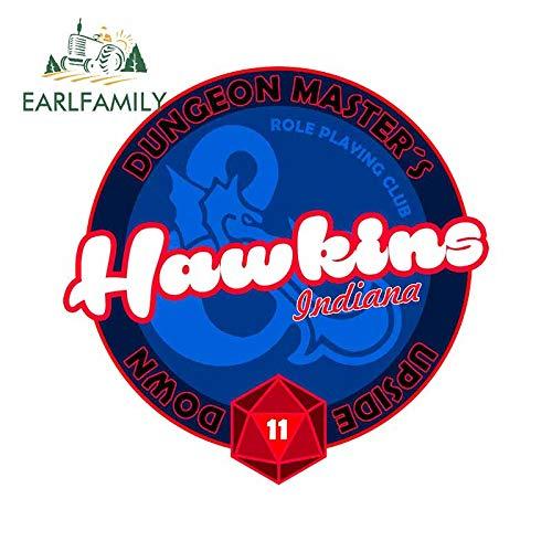 A/X 13 cm x 13 cm para Hawkine Dungeon Masters Nmod Reloj de Arena decoración Pegatinas de Coche calcomanía de Dibujos Animados para Parabrisas Maletero Van