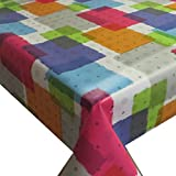 Wachstuch Wachstischdecke Tischdecke Gartentischdecke Flicken Modern Bunt Rustikal Breite & Länge wählbar 120 x 160 cm Eckig abwaschbar