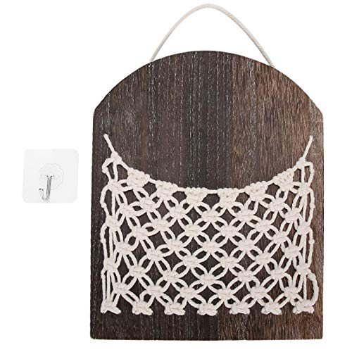 Velaurs Storage Basket, Wooden Hangable Hanging Storage Basket, Practical Stable Exquisite for Organizing Items Office Home Storage Items
