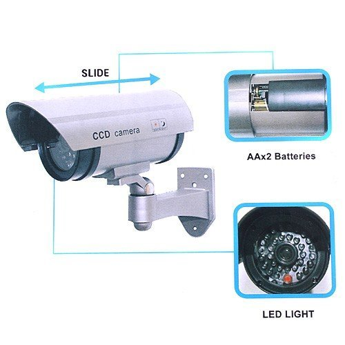 Cool Shiny Outdoor Fake/Dummy Security Camera w/Blinking Light (Silver)