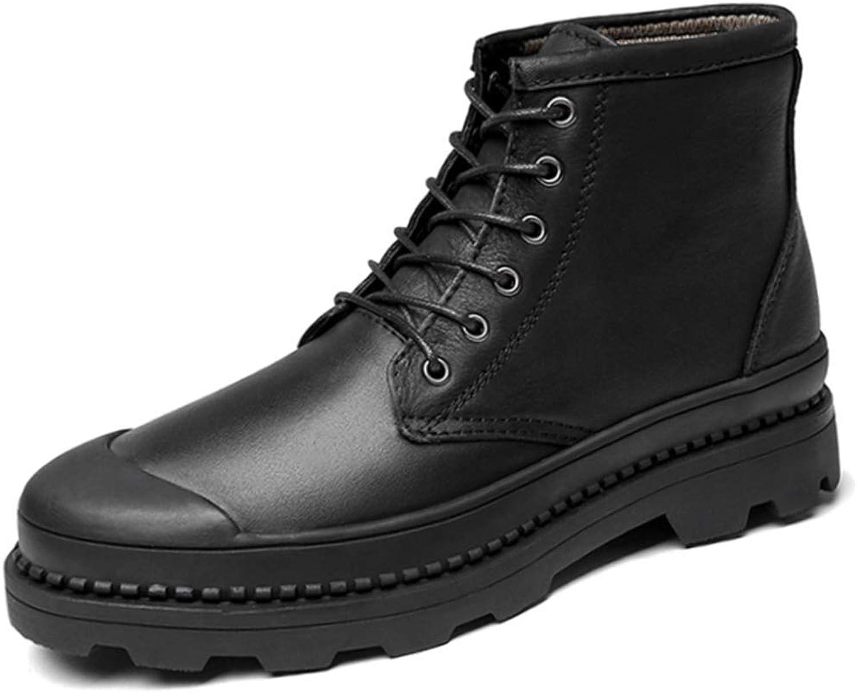 High Men's shoes Winter New Cowhide Leather Big Cotton shoes Outdoor Tooling Boots Men's Large Size Casual shoes Men (color   Black, Size   42)