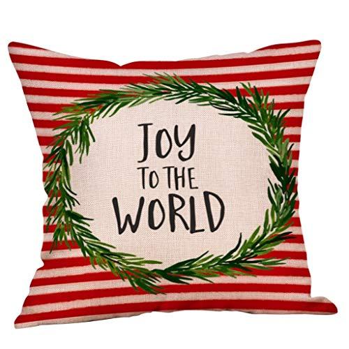 ALISIAM Fundas de Almohada Feliz Navidad Funda de cojín de sofá de Lino de algodón Decoración para el hogar Cojín de Asiento de Moda/Cojín de Respaldo