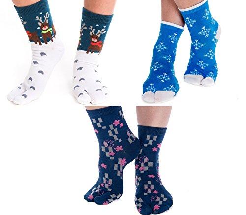 V-Toe Socks V-Toe Tabi Flip Flop Holiday Socks (3 Pairs), Women 2 - 8 Men 1 - 7
