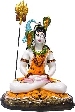Craftden Lord Shiva Idol/Vigraham in dhyaan mudra with Trishul | Shankarji bhagwan ji ki murti for Temple | Lord Mahadev Stat