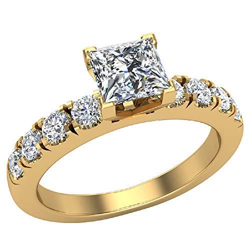 Glitz Design Mujer Niños Hombre Unisex 750 Gold oro rosa de 18 quilates talla princesa round-brilliant-shape Diamond