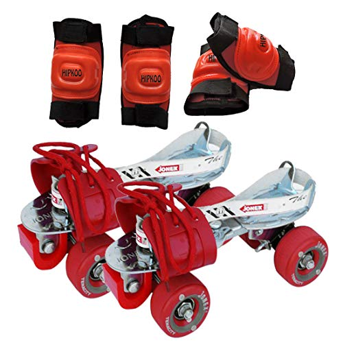 Jonex Tenacity Zinc Plated Roller Skates with Elbow and Knee Guard (Adjustable Size 3 to 10 UK)