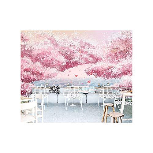 Blovsmile Japanese pink cherry blossom Tapete Non-woven Wallpaper 3D Living Room Tv Bedroom Background Decoration-300 * 200