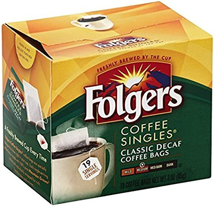 Folgers Classic Medium Roast Decaf Coffee 19 Count Singles Serve 6 Pack