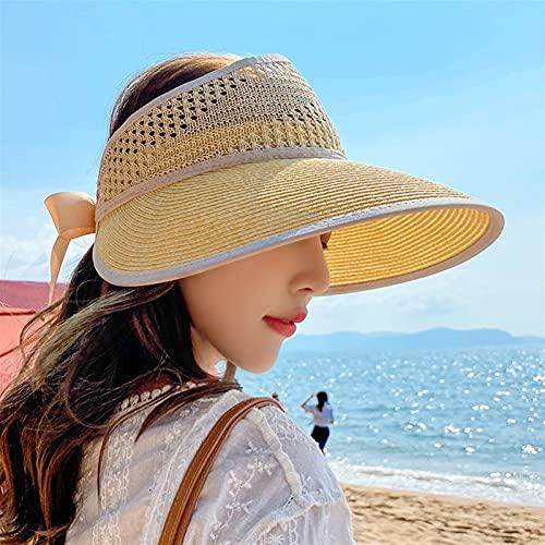 XCBHJXD Le Donne Sun Visor Cappello Paglia Cappello Donne Beach Big Brim Purchia Vuoto Top Cappello da Sole Pieghevole Estate Piccolo e alla Moda Sole Sandal Hat 54~58cm
