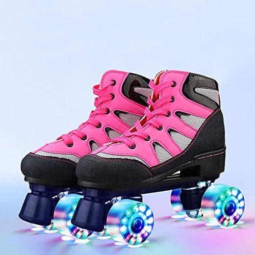 Longxs Classic Roller, Eisbahn professionelle Coole LED blinkende Rollschuhe Zweireihige Rollschuhe Erwachsenensport für Mädchen und Jungen-34