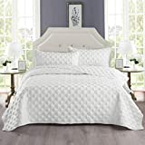 Exclusivo Mezcla 2-Piece Twin Size Quilt Set with One Pillow Sham, as Bedspread/Coverlet/Bed Cover(Ellipse White) - Soft, Lightweight, Reversible and Hypoallergenic