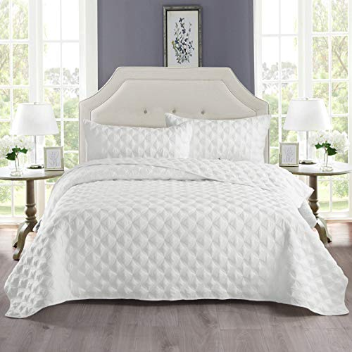 Exclusivo Mezcla 3-Piece King Size Quilt Set with Pillow Shams, as Bedspread/Coverlet/Bed Cover(Ellipse White) - Soft, Lightweight, Reversible and Hypoallergenic