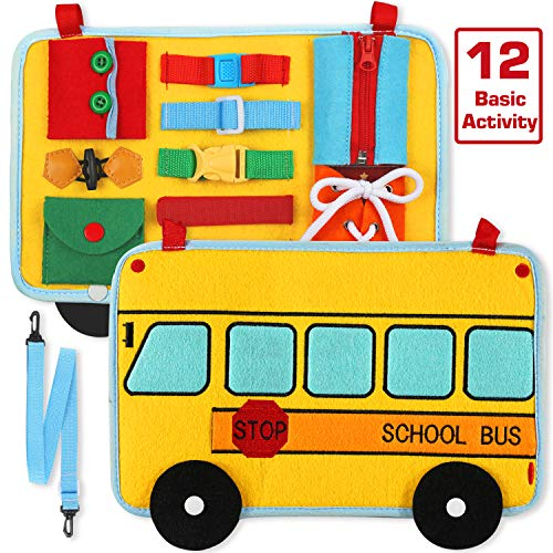 Busy Board, School Bus Style Activity Board(12 Basic Skill), for Fine Motor and Learn to Dress, Early Educational for Preschool Kids Toddler, Sensory Toy for Kindergarten Classroom Airplane Car Travel