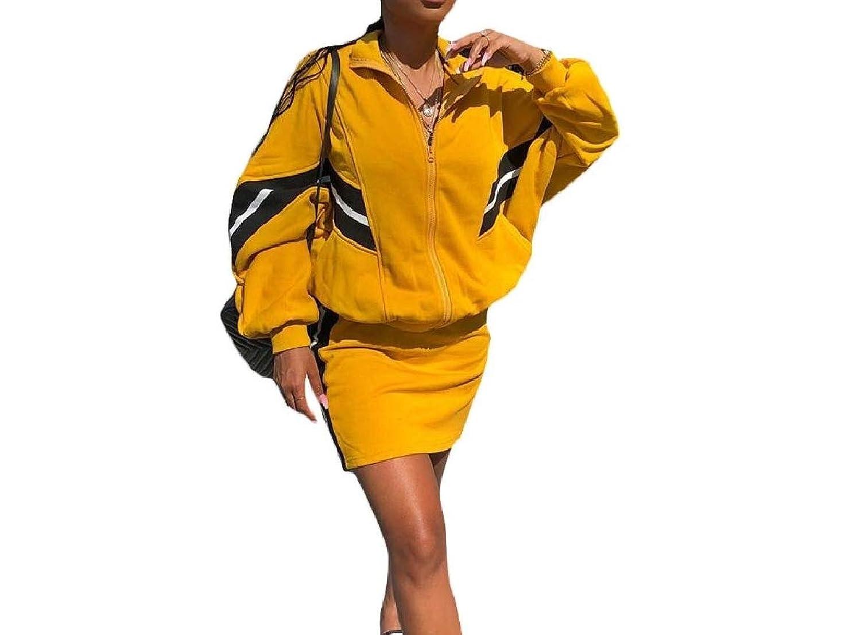sayahe 女性のトレーニングジムロングスリーブジャケット+スカートセットのトラックスーツの服