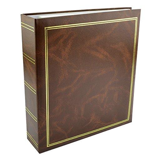 Álbum de fotos clásico con 50 hojas, 100 páginas autoadhesivas, formato de foto de 10 x 15 cm, 13 x 18 cm, 15 x 21 cm, color marrón