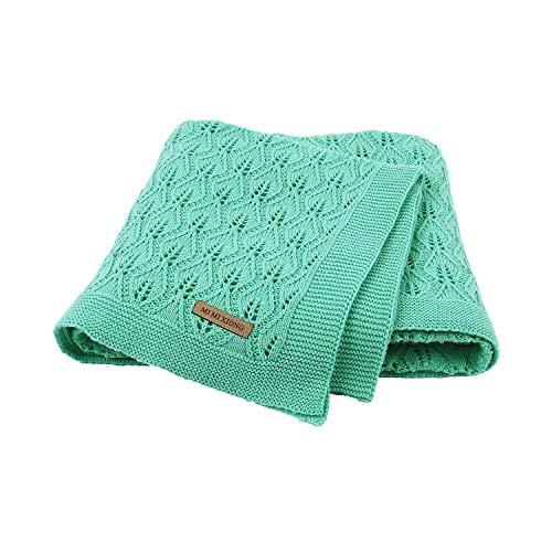 Taotigzu Babydecke Baumwolle 80 x 100 cm, kuschelige Strickdecke Swaddle Empfangen Decken,Vielseitig Nutzbare Baby Wolldecke als Kinderwagendecke (Grün)