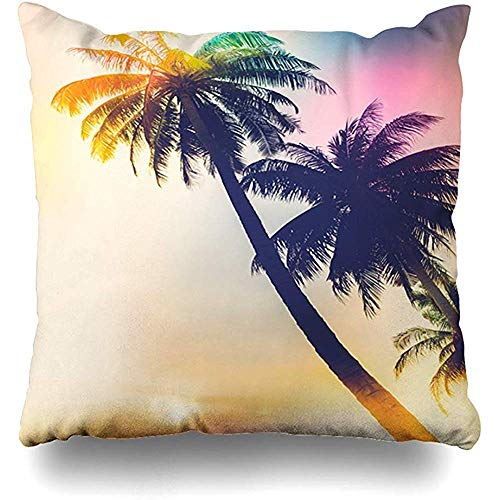 Bank Kussens Los Angeles Palm Tree Vintage Filter Natuur Heuvels Sunset Tropical Beach Ontwerp Familie Home Decor Kussen Cover Vierkant Living Rits Quarters Kussensloop Stoel Gezellige Gooi P