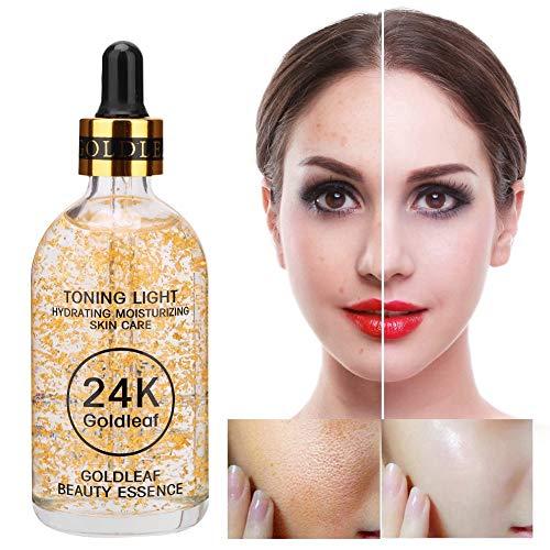 24K Gold Moisturizing Essence Oil, 100 Ml Facial Whitening Serum, Tag Und Nacht, Zur Hautstraffung Und Verdünnung Feiner Linien Und Verdünnung Von Akne