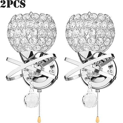 TopHGC Lámpara de pared colgante de cristal, lámpara de pared de cristal de 2 PCS interruptor de extracción Elegante y moderno estilo E14 Enchufe sala estar Dormitorio (bombilla no incluida) (Plata)