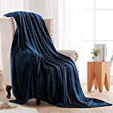 Fleece Throw Blankets Velvet Throws Utra Soft Lightweight Decor for Couch, Bed, Plush Fuzzy Flannel Microfiber Warm Thermal Blanket All Seasons(Navy Blue, 50x60)