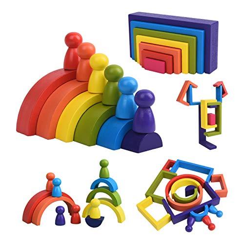 XIAPIA Juguetes Montessori Madera Apilado Arcoiris Bebes 1 Año Bloques Construcción Educativos Juegos Aprendizaje 19 Piezas para Niño Niña Infantil