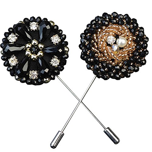 Ainow Mens Lapel Crystal Stick Brooch Pin for Suit Tuxedo Corsage