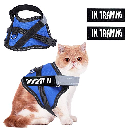 WOCUME JAD Cat Harness and Leash Adjustable Kitten Harness Escape Proof with Reflective Strap Vest Harness- Best for Cats Kitten Puppy Walking Chest Girth (S, Blue)