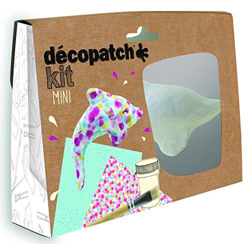 Décopatch KIT016O Bastel Set Pappmaché Delphin (ideal für Kinder, 3,5 x 19 x 13,5 cm) türkis, bunt