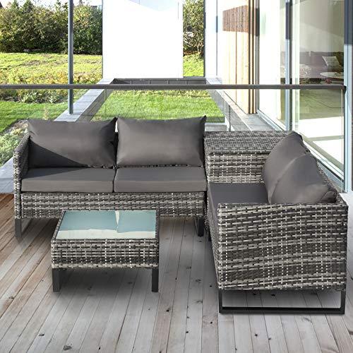 Pumpumly Juego de 4 sofás de jardín de ratán Coner para exteriores con caja de almacenamiento grande, color gris