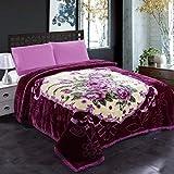 JML Fleece Blanket, Plush Blanket King Size 85' x 93', 10 Pounds Heavy Korean Style Mink Blanket - Silky Soft and Warm, 2 Ply A&B Printed Raschel Bed Blanket, Purple Flower
