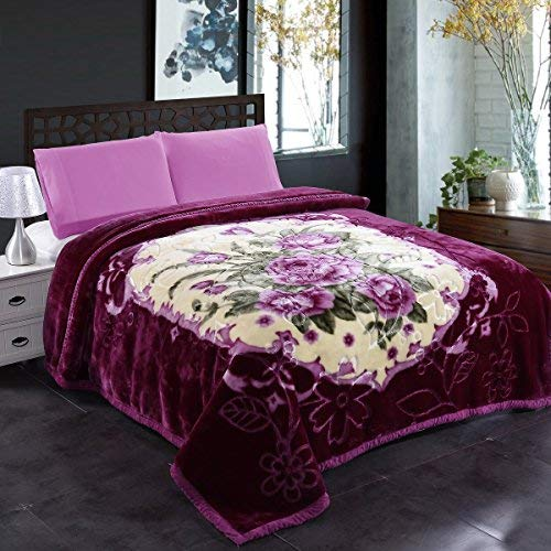 "JML Fleece Blanket, Plush Blanket King Size 85"" x 93"", 10 Pounds Heavy Korean Style Mink Blanket - Silky Soft and Warm, 2 Ply A&B Printed Raschel Bed Blanket, Purple Flower"