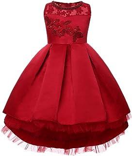 ガールズウェディングドレス ハロウィンガールズドレスプリンセスドレスフラワーチュチュ子供服キッズドレス 誕生日イブニングボールガウン (色 : 赤, サイズ : 140cm)
