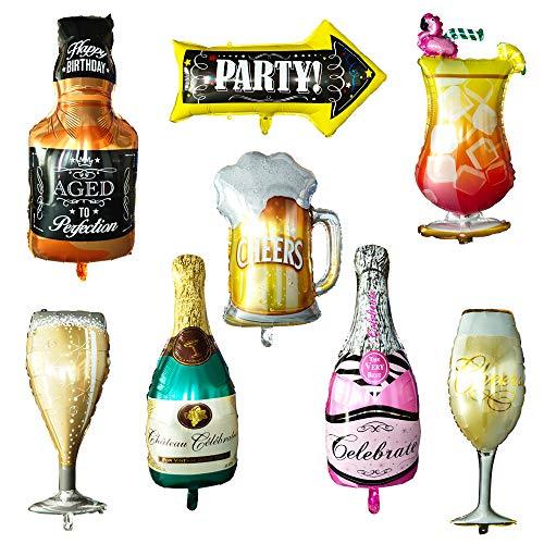 SNAGAROG 8PCS aluminiumfolie Ballon Flasche Weinflasche Weinglas Ballons Champagner aluminiumfolie Ballon Inflatable Helium Ballons für Hochzeit Geburtstagsfeier Dekoration