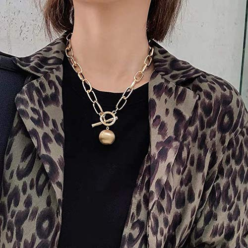 Necklaces,Chain Necklace Cool Punk Hip Hop Charm Gold Silver Color Round Ball Pendant Necklaces Bracelet For Women Girl Jewlery 1