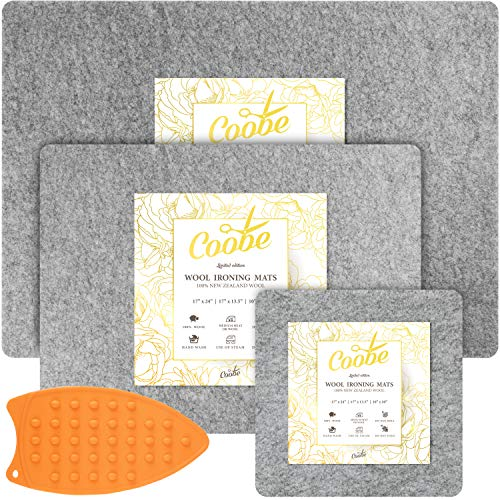 Coobe 3-in-1 Set 17' X 24' Wool Pressing Mat for Quilting Large Size | 17' X 13.5' Medium Size | 10' X 10' Portable Size - 100% New Zealand Wool Ironing Pads with Iron Rest, for Travel and Classes