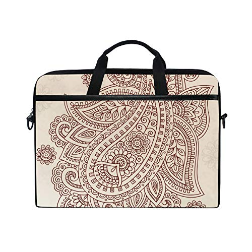 EZIOLY Henna Paisley Flower Laptop Shoulder Messenger Bag Case Sleeve for 13 Inch to 14 inch Laptop