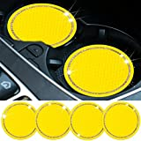 Surmu 4 Pack Bling Car Coasters for Cup Holders, Anti Slip Crystal Cup Holder Insert Coaster, Rhinestone Car Accessories Interior with Diamonds for Women Men, Vehicle Accessories Cup Mats (Yellow)
