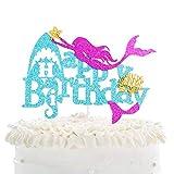 Mystical Mermaid Happy Birthday Cake Topper - Sea-maid Shark Under The Sea Animals Cake Décor - Girls Birthday Party - Summer Beach Pool Party Decoration