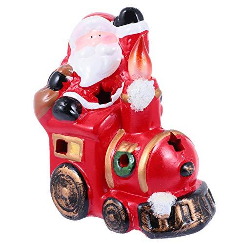 NUOBESTY Christmas Ceramic Decoration Santa On Train Desktop Ornament Xmas Figurine Statue Holiday Sculpture for Festival Home Decoration